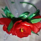 Обруч Тюльпан авторская ручная работа, ободок, веночек, цветы из лент