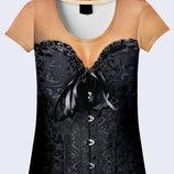Женская футболка 3D Black corset Большой выбор