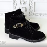 Женские демисезонные ботинки пряжка замшевые