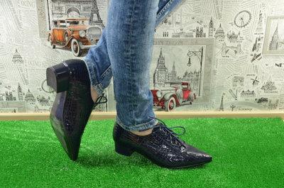 Брендовые Легкие Удобные Туфели мокасины - Синие И Черные-Под Рептилию