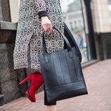 Сумка женская большая шоппер натуральная кожа черная ручная работа BN-BAG-10-g