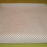 Качественная ткань - поплин белый в черный горошек