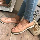 Женские туфли лоферы пудра Польша