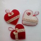 Валентинка, сердце, сердечко из фетра. Hand made. Ручная работа