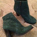 Ботинки осень замш натур. 38-39 зеленые , коричневые
