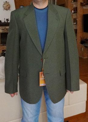Пиджак мужской тёмно оливковый с рыжими пуговицами. Besonder. Германия. 52 размер.