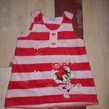 Красивое теплое платье Disney Минни на 6-12 мес.