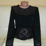 Женская блуза - сетка черная с кружевом р. 42-44