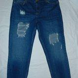 Крутые рваные джинсы,р-р 14R,на наш 46-50,на невысокий рост,укороченные,сток