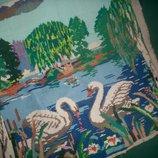 Вышивка Лебеди ручная работа