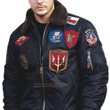 Top Gun Official B-15 Flight Bomber Jacket with Patches
