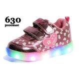 Кроссовки, ботинки, ботиночки, туфли Clibee с подсветкой, кожаная стелька с супинатором, р.21-25