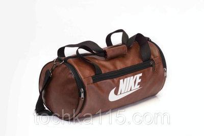 f146d13b0179 Мужская спортивная городская сумка найк Nike бочка кожа кожзам коричневая