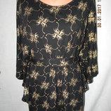 Вискозная блуза свободного кроя с золотым принтом