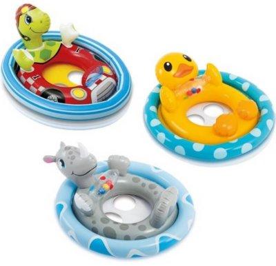 Детский надувной круг - плотик для плавания 59570 Уточка, черепашка и носорг