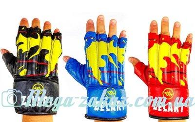 Перчатки боевые шингарты Zel 4224, кожа 3 цвета, M/L/XL
