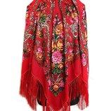 платок народный шерстяной павлопосадский большой с кистями 120х120 разные цвета