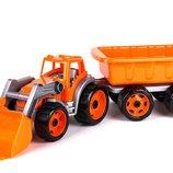 Трактор с ковшом и прицепом Технок 3688 машинки пластиковые