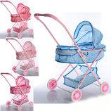 Детская прогулочная коляска с корзинкой, складывается.