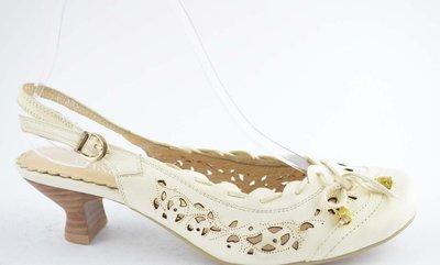 Шикарные Светлые Туфли-Босоножки Натуральная Кожа