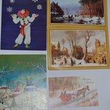 новые открытки разная тематика Новый Год клоун пейзажи Англия винтаж