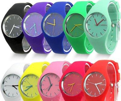 Модные молодежные часы Geneva , 8 цветов ,силиконовый ремешок