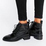 Ботинки броги черные кожа Италия-37Р