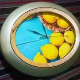 Часы настенные большие необычные без циферблата, яркие лимоны
