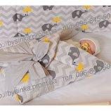 бампер бортик бортики защита для детской кроватки защитное ограждение - Слоники зонтики