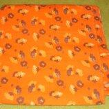 Отрез байки оранжевая с цветочками .