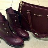 5ae18c90f Стильные Hermes болты ботинки женские демисезонные сапоги Гермес кожаные  яркого цвета марсала