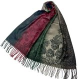 Палантин широкий шарф цветочный принт с бахромой разные цвета