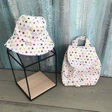 Детский рюкзак, ранец, портфель горошек