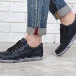 Кеды слипоны кожаные Ecco синие на шнуровке и молнии 32-39 размеры