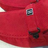 Мужские мокасины Basconi 42р, кожа, замш, красные, красного цвета