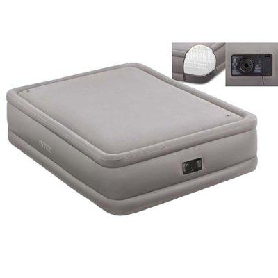 Велюровая надувная кровать с эл. насосом Intex 64468. 152х203 51 см.