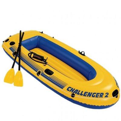 68367 Двухместная надувная лодка Intex Challenger-2 Set пластиковые вёсла и насос