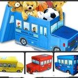 Детский разборной пуфик Автобус для игрушек.