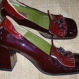 41.5- 27 см лак-кожа стильные туфли COX Made in Italy идеальное состояние