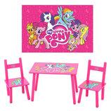 Столик M 1522 Розовый пони, деревянный, 2 стульчика, в кор-ке, 59,5-39,5-23см