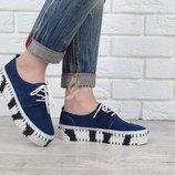 Мокасины слипоны женские кожаные темно-синие на шнуровке Турция