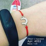 Красная нить серебряный браслет Подкова 4053