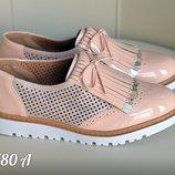 Женские туфли лоферы пудра