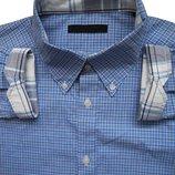 Мужская рубашка в клетку голубая синяя сочная Jack&Jones Premium XL L
