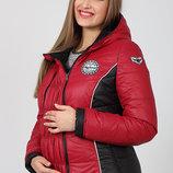 Теплая демикуртка для беременных, ягодная с черным