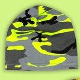 Легкая трикотажная шапочка хаки, камуфляж неон