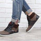 Ботинки кожаные женские коричневые на шнуровке Украина