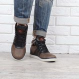 Ботинки кожаные детские коричневые на шнуровке Украина