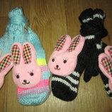 Женские/подростковые рукавички, варежки на флисеЗайка