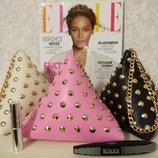 Необычная сумка, клатч, сумочка женская, пирамида, с заклепками, черная и розовая, цепочка
